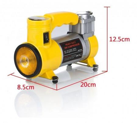 Compresor Auto pentru Autovehicule Mari, Cyclone, 12 V, 27 L/Min, 150 PSI, Galben