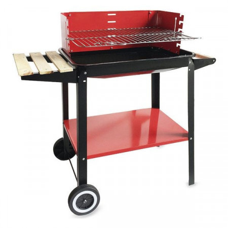 Gratar pe carbuni, BBQ Algon, 58x38x72 cm, negru/rosu