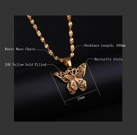 Lantisor Dama cu fluture - auriu COL147
