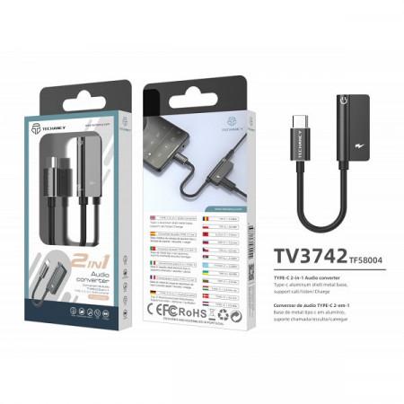 USB tip C la 3,5 mm și încărcare, adaptor, negru, PMTF580043