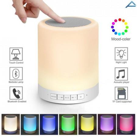 Boxa si lampa inteligenta, portabila cu touch, bluetooth 4.0, Micro SD, Aux, alb
