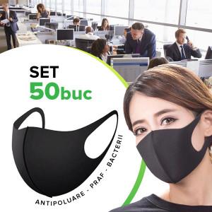 Set 50 buc Masca protectie pentru fata Fashion, negru