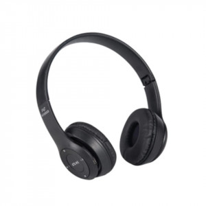 Casti wireless P47, Stereo Headphones, Fm Radio, MP3 Player, Microfon incorporat, Port Micro SD, Negru