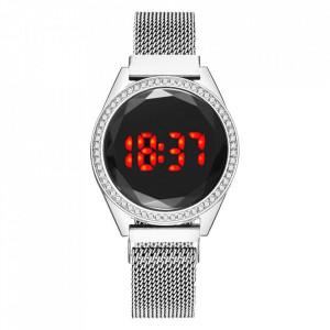 Ceas Dama Fashion Touch Screen Digital, Curea Magnetica, Swarovski elements, Argintiu, LD090-V1