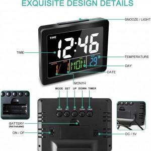 Ceas Electronic cu ecran LCD iluminat , termometru , alarma 8 tonuri, Negru