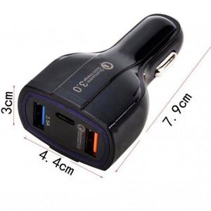 Incarcator Auto USB 35W Negru Cu Incarcare Rapida Quick Charge