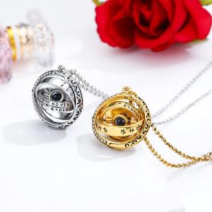 "Lantisor Dama Astronomical Ball ""Te iubesc"" 100 de limbi - argintiu COL152-V1"