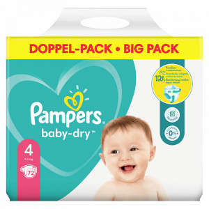 Scutece Pampers Baby-Dry, marimea 4, 9-14 Kg, 72 bucati, PM80341823