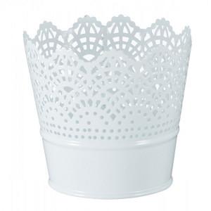 Ghiveci rotund alb - set 2 buc - 11 cm diametru