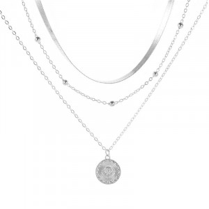 Lantisor Dama Boho Coin Choker - argintiu COL145
