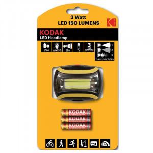 Lanterna frontala LED 3W, 150 lumeni, 3 moduri iluminat, Kodak