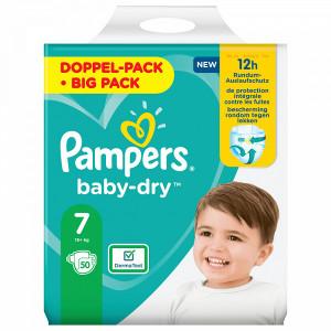 Scutece Pampers Baby-Dry, marimea 7, 15+ Kg, 50 bucati, PM80327873