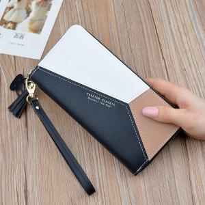 Portofel de dama, PTL008-V1, forme geometrice, varianta mare, buzunar pentru telefon, compartimentare multipla, model negru