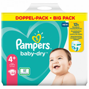 Scutece Pampers Baby-Dry, marimea 4+, 10-15 Kg, 64 bucati, PM83800833