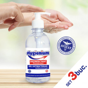 Set 3 bucati - Gel Dezinfectant de mâini antibacterian Hygienium 300 ml