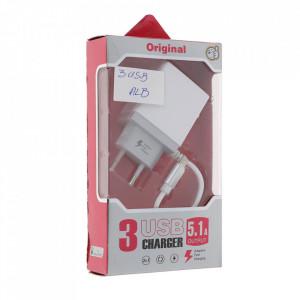 Incarcator Telefon 3xUSB 5.1A Fast Charging, Alb