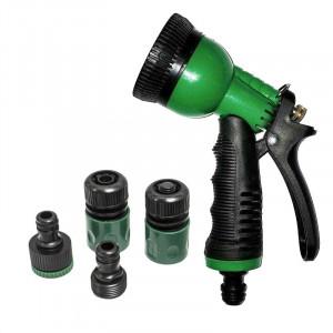 Pistol de stropit multijet cu patru accesorii, Verde-Negru, PM-0066