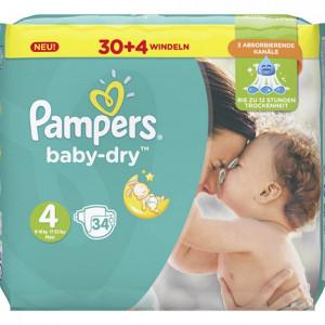 Scutece Pampers Baby-Dry, marimea 4, 8-16 Kg, 34 bucati, PM60013