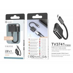 USB tip C la 3,5 mm și încărcare, adaptor, negru, PMTF580023
