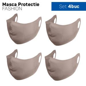 Set 4 buc Masca protectie pentru fata Fashion, Culoare Bej