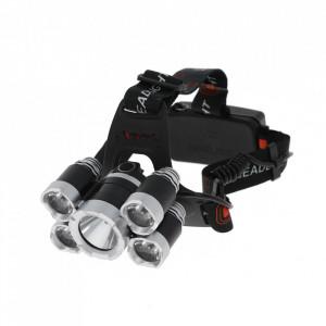Lanterna frontala cu 5 LED-uri 1XT6, 4xPE si acumulatori reincarcabili