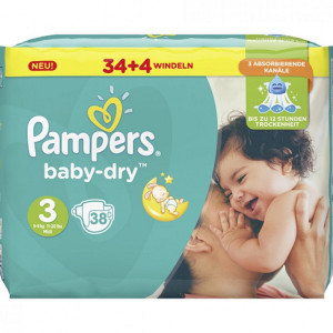 Scutece Pampers Baby-Dry, marimea 3, 5-9 Kg, 38 bucati, PM60003
