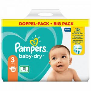 Scutece Pampers Baby-Dry, marimea 3, 6-10 Kg, 84 bucati, PM83781813