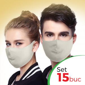Set 15 buc Masca protectie pentru fata Fashion, Culoare Crem