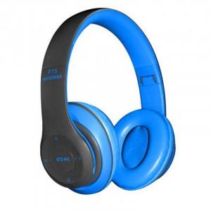 Casti wireless P47, Stereo Headphones, Fm Radio, MP3 Player, Microfon incorporat, Port Micro SD, Albastru