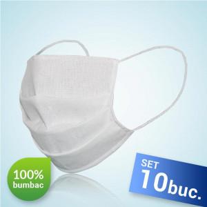 Set 10 bucati, Masca protectie pentru fata Reutilizabila, 100% bumbac, culoare alba, fabricat in Romania
