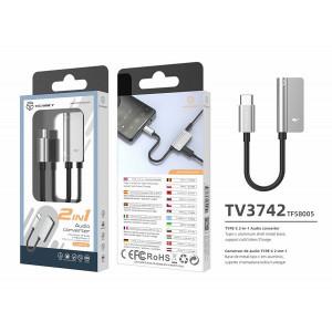 USB tip C la 3,5 mm și încărcare, adaptor, argintiu, PMTF580053