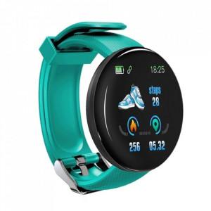 Bratara Fitness Smartband D18 Waterproof IP65, Incarcare USB, Bluetooth 4.0, Display Touch Color OLED, Turcoaz