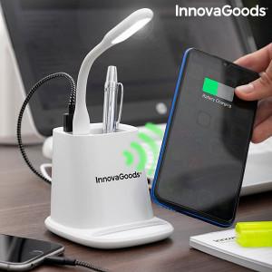 ÎNCĂRCĂTOR WIRELESS CU SUPORT ORGANIZATOR ȘI LAMPĂ LED USB 5-ÎN-1 DESKING INNOVAGOODS, PMV01032103
