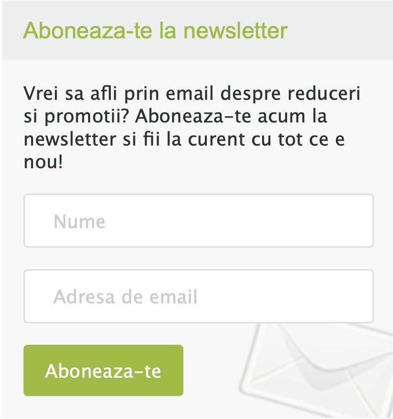 Inscrie-te la Newsletter si primesti cod de 5% reducere