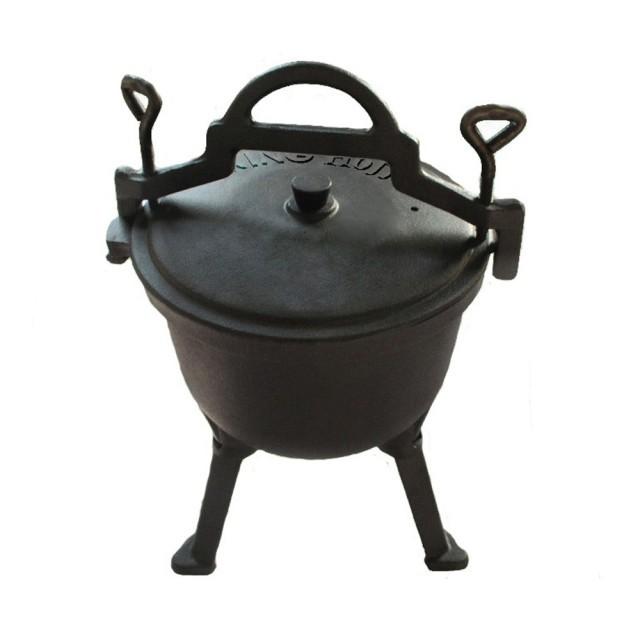 Ceaun din fonta pura KingHoff, capacitate 4 litri, diametru 28 cm, interior emailat, capac fonta