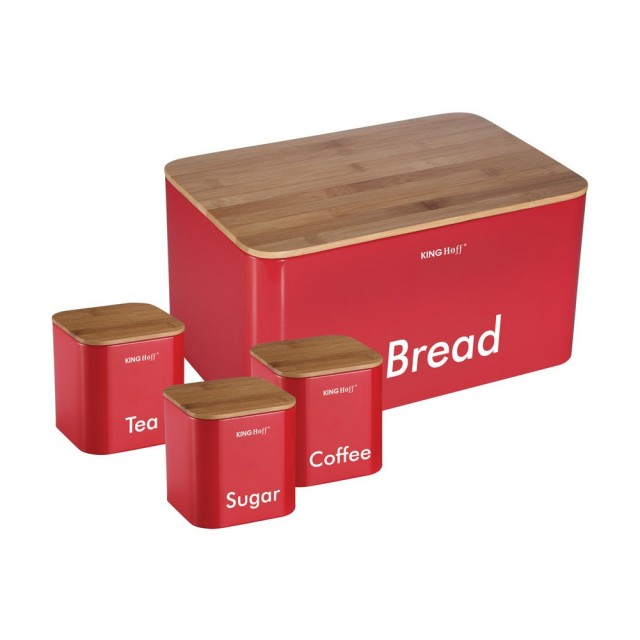 Set cutie pentru paine si 3 recipiente KingHoff, capac din bambus, rosu thumbnail