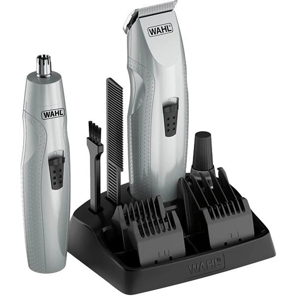 Aparat de tuns mustata si barba Wahl + trimmer pentru nas si urechi, 3 capete incluse, lame din otel, argintiu