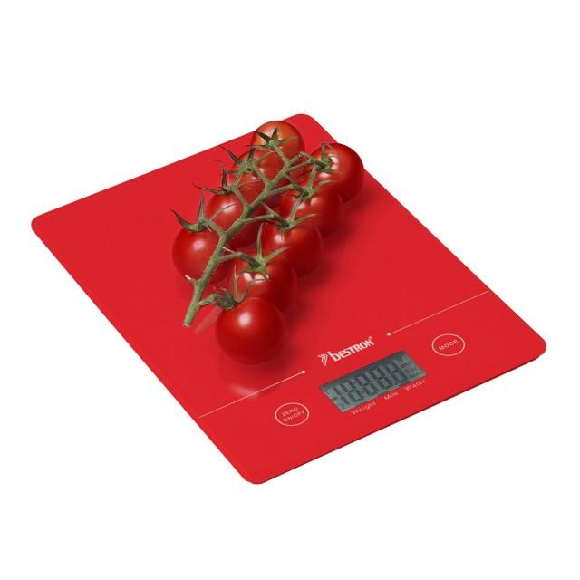 Cantar digital de bucatarie Bestron, capacitate 5 kg, rosu thumbnail