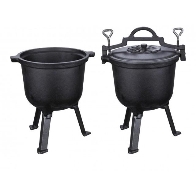 Ceaun din fonta pura Peterhof, capacitate 10 litri, diametru 30 cm, capac fonta thumbnail