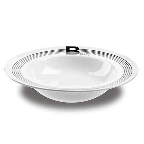 Farfurie pentru salata Nava, portelan, diametru 28,1 cm, seria Lines Black thumbnail