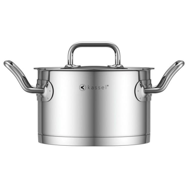 Oala inox Kassel, diametru 24 cm, capacitate 6.4 litri, capac, inductie, seria Pro Chef thumbnail