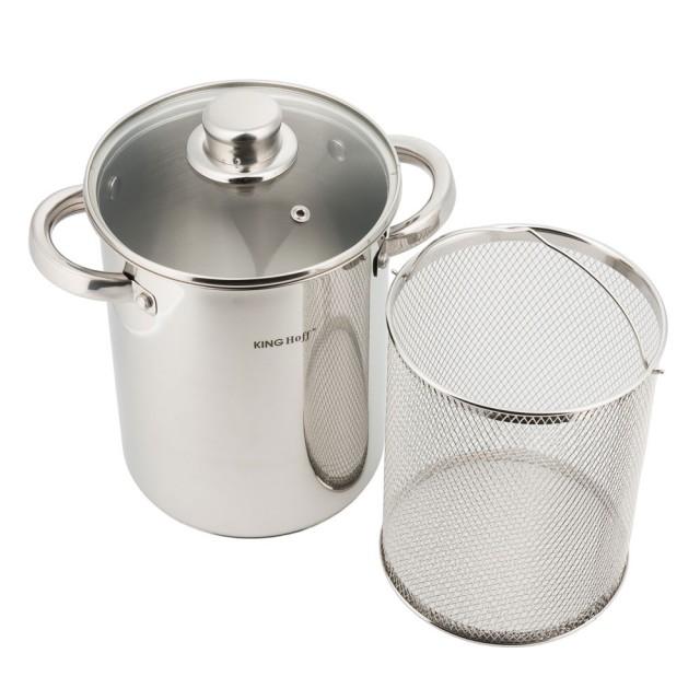 Oala inox pentru sparanghel KingHoff, capacitate 4.2 litri, inductie, capac thumbnail