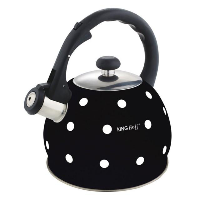 Ceainic din inox cu fluier KingHoff, capacitate 2 litri, inductie, negru thumbnail