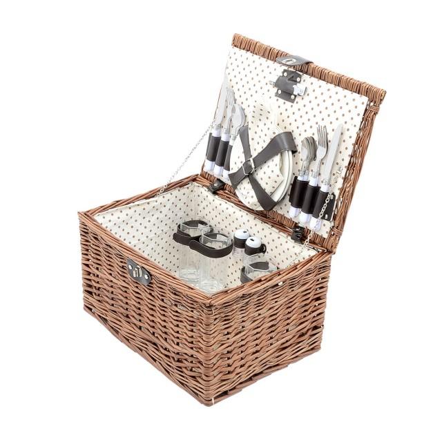 Cos de picnic pentru 4 persoane, material salcie, culoare natur thumbnail