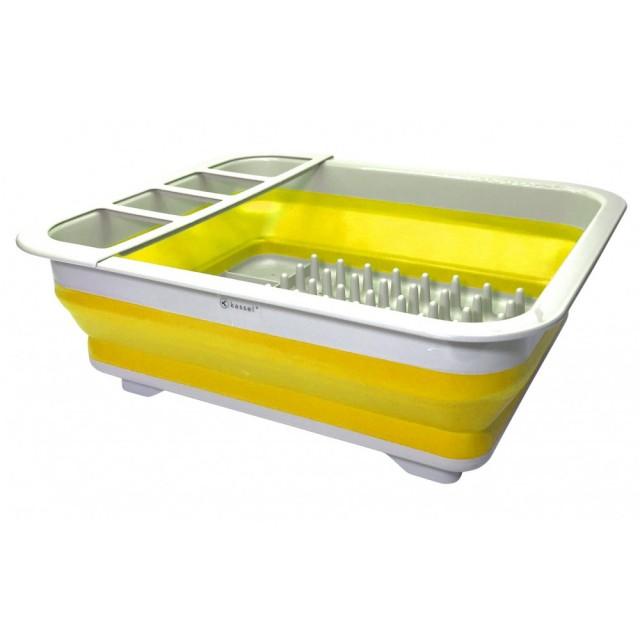 Suport pentru vase cu scurgator Kassel, pliabil, silicon + plastic thumbnail