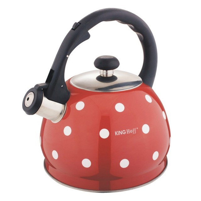 Ceainic din inox cu fluier KingHoff, capacitate 2 litri, inductie, rosu thumbnail