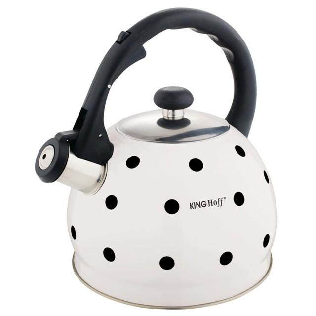 Ceainic din inox cu fluier KingHoff, capacitate 2 litri, inductie, alb thumbnail