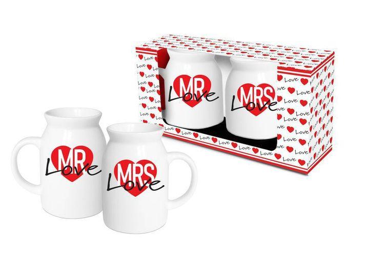 Set 2 Cani Lapte/Vin Fiert Mrs+Mr Love thumbnail