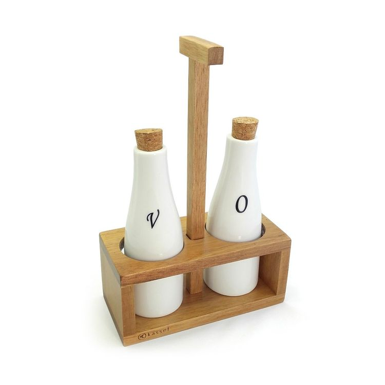 Set recipiente pentru ulei si otet Kassel, 3 piese, suport lemn de salcam, recipiente portelan thumbnail