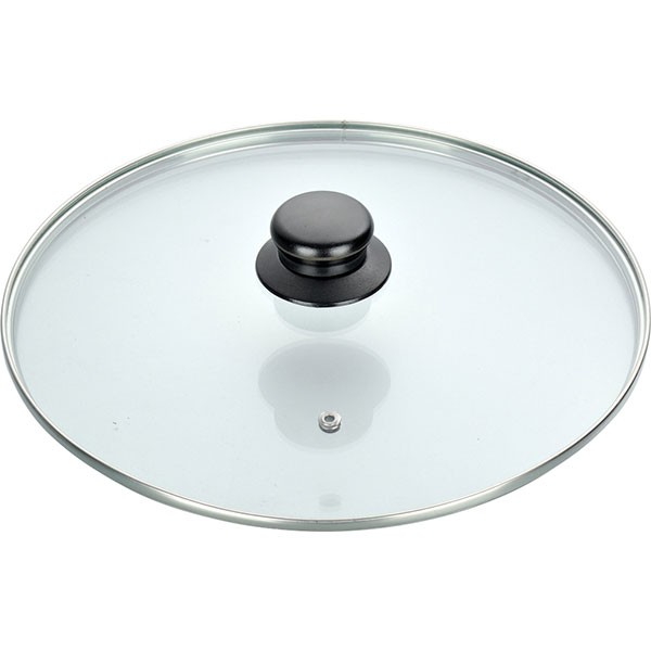 Capac din sticla termorezistenta, diametru 26 cm, maner ebonita thumbnail